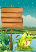 Illustration of an empty signboard and a frog under the rain
