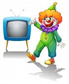 Illustration of a clown with a television on a white background