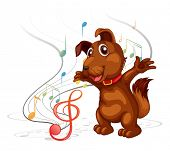 Illustration of the singing dog on a white background