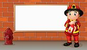 Illustration of a fireman with a fire extinguisher in front of an empty board