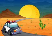 Illustration of a police car at the desert