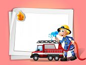Illustration of a fireman with a water hose and a truck
