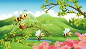 Illustration of the mountain view with flowers and bees