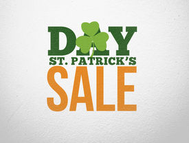 foto of st patty  - Advertisement for st patricks day sale in green and orange - JPG