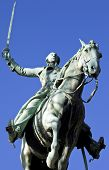 stock photo of reining  - Statue of General Marquis de Lafayette in Cours la Reine Paris - JPG