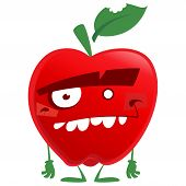 Crazy Cartoon Red Apple Fruit Character Looking At Us