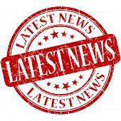 Latest News Grunge Red Round Stamp