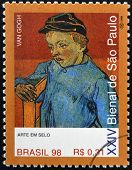 stamp dedicated to Sao Paulo Biennial shows The Schoolboy Camille Roulin by Van Gogh