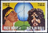 Stamps printed in Brazil dedicated to Rock in Rio shows Cazuza and Raul Seixas