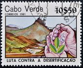 A post stamp printed in Cabo Verde dedicated to Combat Desertification shows three leaves on hands