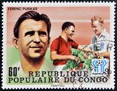 stamp printed in Congo dedicated to the World Cup in Argentina 1978 shows Ferenc Puskas