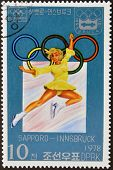 stamp printed in Korea dedicated to Winter Olympic Games Sapporo-Innsbruck shows Ice ballet