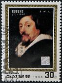 NORTH KOREA - CIRCA 1990: A stamp printed in DPR Korea shows self-portrait by Peter Paul Rubens