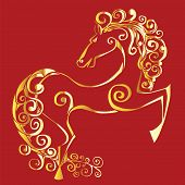 Gold Silhouette Of A Horse