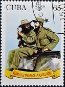 CUBA - CIRCA 1999: A stamp printed in Cuba shows Image of Fidel Castro and Che Guevara circa 1999