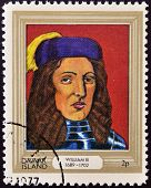 stamp printed in Davaar Island dedicated to the kings and queens of Britain shows King William III