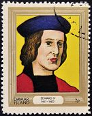 stamp printed in Davaar Island dedicated to the kings and queens of Britain shows King Edward IV