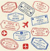 picture of turin  - Colorful fictitious visa stamps set - JPG