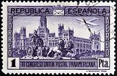 A stamp printed in Spanish Republic shows Cibeles fountain and Communications Palace in Madrid
