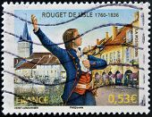stamp shows Claude Joseph Rouget de Lisle composer of the Marseillaise the French national anthem