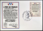 Stamp celebrating the anniversary of the liberation shows Appeal of 18 June 1940, Charles de Gaulle
