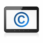 Law concept: Copyright on tablet pc computer