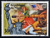 stamp printed in Niger shows Statue of Liberty and Molly Pitcher Heroine of Monmouth