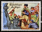 stamp printed in Niger shows Statue of Liberty and Washington traverse the Delaware