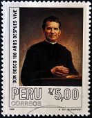 PERU - CIRCA 1988: A stamp printed in Peru shows Don Bosco circa 1988