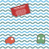 Seamless marine wave pattern with fish octopus
