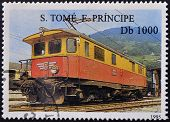 SAO TOME AND PRINCIPE - CIRCA 1995: A stamp printed in Sao Tome shows a train