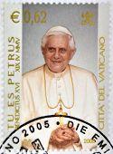 VATICAN - CIRCA 2005: A stamp printed in Vatican shows Pope Benedict XVI Tu es Petrus circa 2005