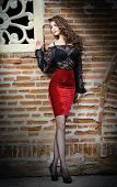 image of woman red blouse  - Charming young brunette woman in black lace blouse - JPG