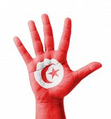Open Hand Raised, Multi Purpose Concept, Tunisia Flag Painted - Isolated On White Background