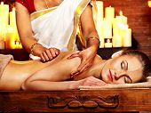 foto of panchakarma  - Young woman having oil Ayurveda spa treatment - JPG
