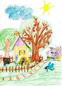 village and steam train. child's drawing.