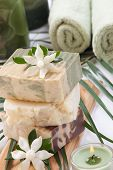 stock photo of gardenia  - Spa set  - JPG