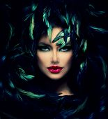 stock photo of darkness  - Mysterious Woman Portrait - JPG