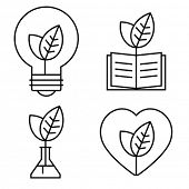 Thin ecology icons of light bulb, book, test tube and heart