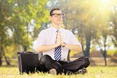 image of stressless  - Young businessperson with tie doing yoga exercise seated on a green grass in a park - JPG