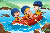 stock photo of raft  - A vector illustration of three happy kids on boat - JPG