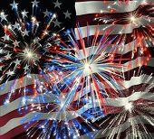 Fireworks Over Us Flag 2
