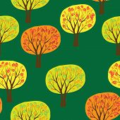 autumn forrest seamless pattern with vector trees