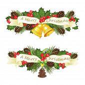 Christmas decorations horizontal congratulations, vector illustration.