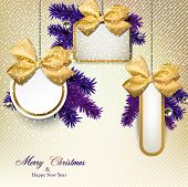 Christmas gift cards with  yellow ribbon and satin bows. Vector illustration.