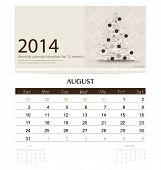 2014 calendar, monthly calendar template for August (Christmas tree design). Vector illustration.