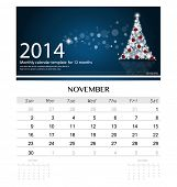 2014 calendar, monthly calendar template for November (Christmas tree design). Vector illustration.