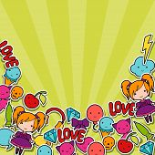 foto of kawaii  - Abstract background with cute kawaii doodles - JPG