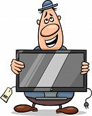 salesman with television set cartoon