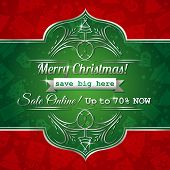 Red Christmas Background And Green Label With Sale Offer, Vector
